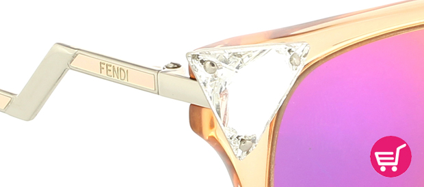 Detalle de las gafas de Sol Iridia de Fendi