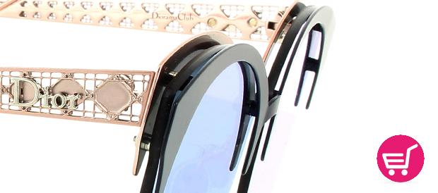 detalle de los metales frontales de las gafas Diorama Club