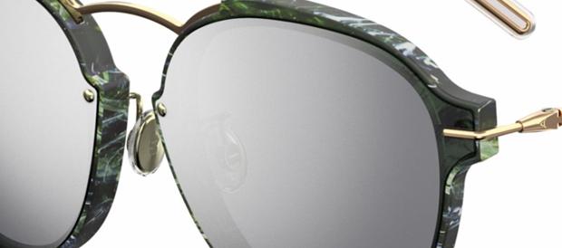 efecto marmol en la montura de las gafas de sol eclat de dior